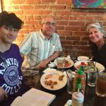 Our family at The Feve for dinner in Oberlin, Ohio, on recommendation of the innkeeper.