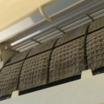 Aircon filters and fan in bathroom...clearly cleanliness is not their forte!