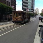 Cable car stops across the street