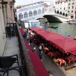 view of Rialto bridge and canal from room 102 balcony- looking at room 101 balcony