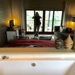 Bathroom view into room (sliding door closes)