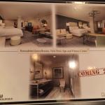 Photos displayed in the lobby of the hotel of the upcoming renovations