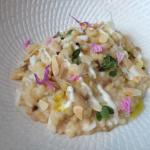 Fregola (type of Sardinian Pasta) risotto with Queensland spanner crab, almonds and marjoram - g