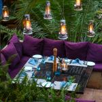 'Down Thyme' outdoor seating with romantic lanters