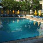 Pool area at 9.30 a.m. choose your own sunbed !