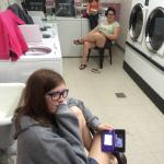 Here we are hiding out in the laundry during the thunderstorm!