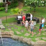 Looking down to our friends BBQ'ing from the pool-side lanau
