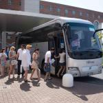 Boarding the hotel's shuttle to central Rome