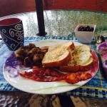 Beautiful breakfast served on outdoor patio overlooking the river.