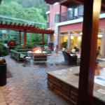 Outdoor spa and seating area