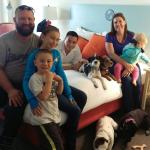 We had enough space in the room for our friends to visit with their three kids, plus our four do