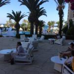 One of the numerous outdoor seating areas where one may sip Cypriot coffee or enjoy a cup of ice