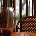 It started pouring down rain which cooled things off nicely.  We enjoyed another glass of wine a