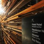Recycled timber is a nice touch throughout the hotel property