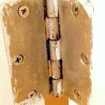 mold & grime on bath door hinge