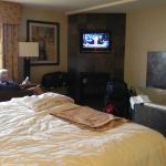 Main room with lots of comfortable seating & great bed
