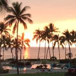 Sunset by the pool and ocean, Fairmont Orchid