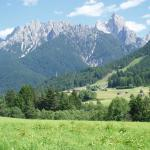 View of the Dolomites from outside of the Village
