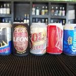 "Canned beers available at the ""Beach Bar"""