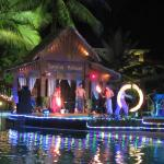 Traditional dances and performances near the pool