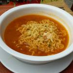 Korean-style ramen breakfast, come with kim-chi on the side