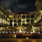 Night view of the hotel exterior