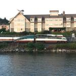 Amtrak Cascades train passing in front of the Inn