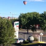 Hot air balloon over motel