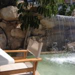 Next to the pool there's a waterfall