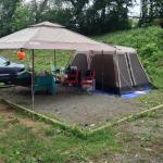 Area big enough for 8 person tent and canopy