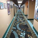 Hallway at the Prospector - the art is pretty interesting, just don't look down!