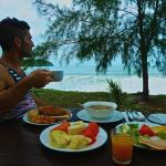Stefan enjoying the breakfast at the Frangipani Langkawi Resort by the beach
