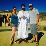 Channing and I with Aaron who acted as Jesus
