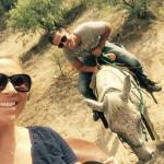 Me and my husband on a trail ride