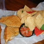 Grilled 5 Cheese Panini with Chips & Salsa - YUM!