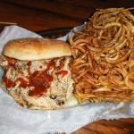 Pulled Chicken Sandwich with Haystack Curly Fries - So.Good.