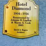 The plaque on the side of the hotel.