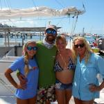 With the crew of one of the Sebago catamarans.