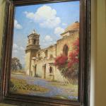 Lovely artwork of San Jose Mission near the dining area