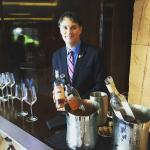 Sommelier Keith Goldston in the lobby with a rose' wine tasting