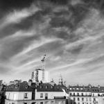 black and white Paris from Le Mareuil balcony