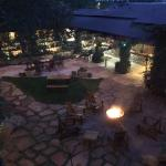 Courtyard at night with the fire going (every night)