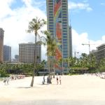 The Rainbow tower from the beach.