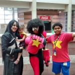 my little one with other cosplayers at the conventions