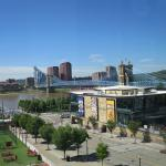 View of Roebling bridge and Ohio River from the Great American Ballpark.