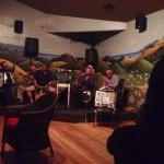 listening to the Louie Ortega band in the Cambria Pines Lodge lounge