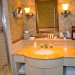 2 room bathroom with spa tub, keurig coffee maker, 2 sinks, nice towels.