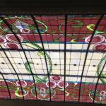 stained glass ceiling in restaurant