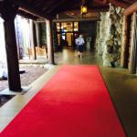 Red carpet entrance to lobby.