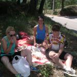 Roadside picnic between Apt and Bonnieux with rotisserie chicken and other goodies purchased at